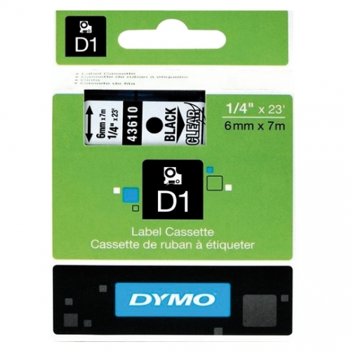 RUBAN DYMO POCKET/4500 6MM NOIR/TRANSPARENT